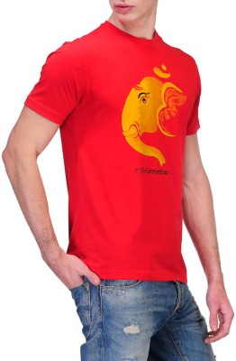 Rootstock Printed Men's Round Neck Red T-Shirt