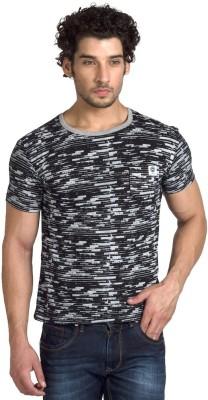YOO Striped Men's Round Neck Black T-Shirt