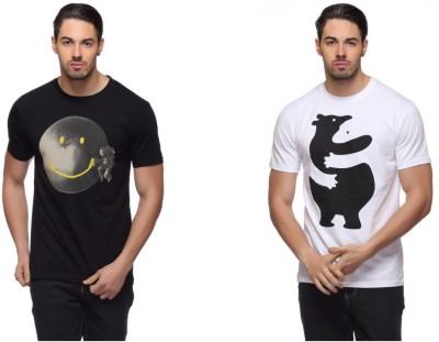 LLO Fashions Printed Men,s Round Neck Black, White T-Shirt