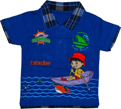 Smilee Graphic Print Baby Boy's Flap Collar Neck Blue T-Shirt