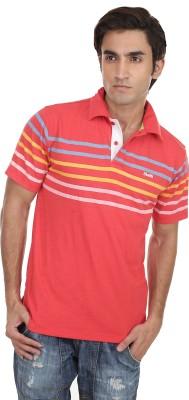 Skatti Striped Men,s Polo Neck Orange T-Shirt