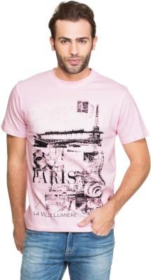 Zovi Printed Men's Round Neck Pink T-Shirt