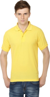 Club Vintage Solid Men's Polo Neck Yellow T-Shirt