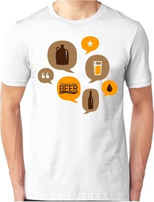 Foscous Printed Men's Round Neck White T-Shirt