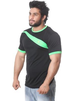 Stylar Solid Men's Round Neck Black, Green T-Shirt