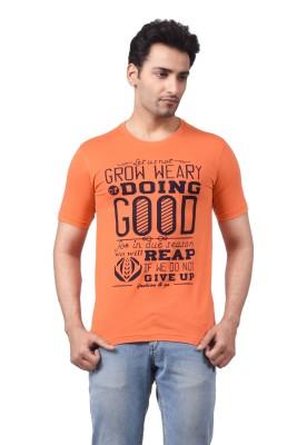 Regnum Printed Men's Round Neck Orange T-Shirt