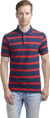 WRIG Striped Men's Polo Neck Red T-Shirt