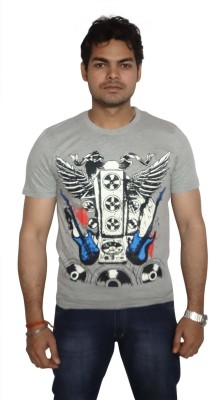 Burnout Printed Men's Round Neck Grey T-Shirt