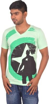 Rogue Printed Men's V-neck Light Green T-Shirt