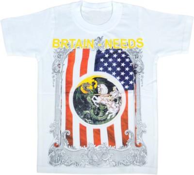 HEY BABY Self Design Boy's Polo Neck White T-Shirt
