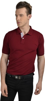 Pacific Time Solid Men's Polo Neck Maroon T-Shirt