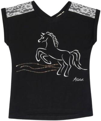 Aristot Animal Print Girl,s Round Neck Black T-Shirt