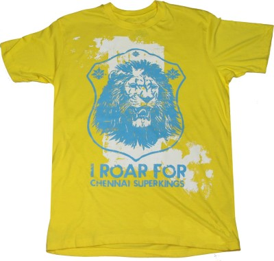 Kludss Solid Men's Round Neck Yellow T-Shirt