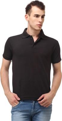 Lime Fashion Solid Men's Polo Black T-Shirt