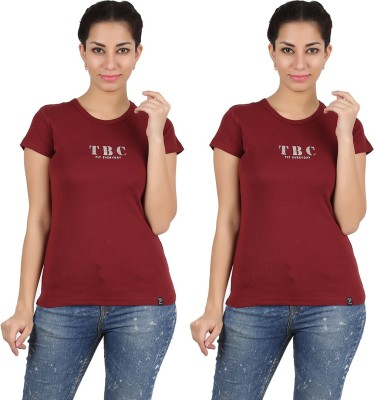 Twin Birds Printed Women's Round Neck Maroon T-Shirt