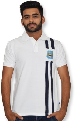 Manchester City FC Printed Men,s Polo Neck White T-Shirt