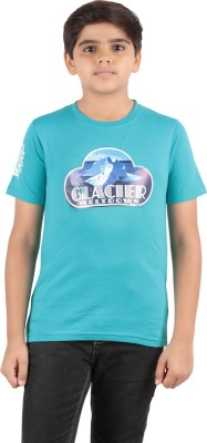 Menthol Solid, Printed Boy's Round Neck Blue T-Shirt