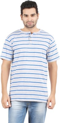Danteez Striped Men's Henley Grey T-Shirt