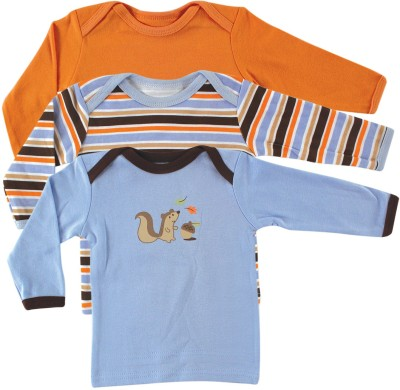 Luvable Friends Solid, Printed, Striped Baby Boy's Round Neck Blue, Orange T-Shirt