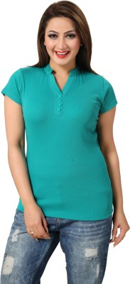 Go4it Solid Women's Round Neck Green T-Shirt