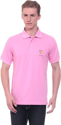 Ted Smith Solid Men's Polo Neck Pink T-Shirt