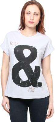 XnY Printed Women's Round Neck Grey T-Shirt