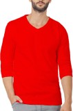 Illuzion Solid Men's V-neck Red T-Shirt