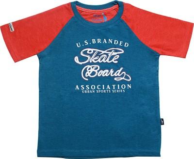 Blue Giraffe Printed Boy's Round Neck T-Shirt