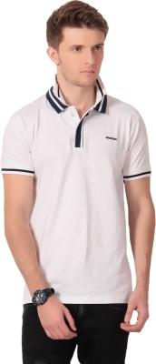 Howzat Solid Men's V-neck White T-Shirt