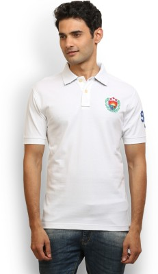 Police Solid Men's Polo Neck White T-Shirt