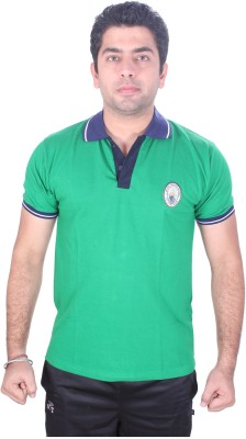 SST Solid Men,s Polo Neck Green T-Shirt