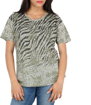 Download Apparel Printed Women,s Round Neck Green T-Shirt