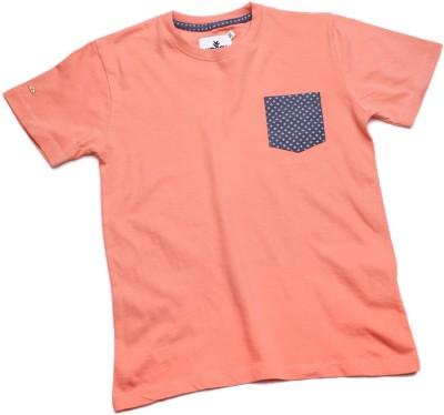 WROGN Solid Boy's Round Neck Pink T-Shirt