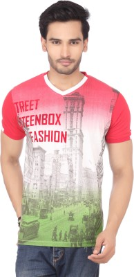 DXI Printed Men's V-neck Multicolor T-Shirt
