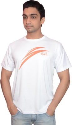 Prokyde Printed, Solid Men's Round Neck White, Orange T-Shirt