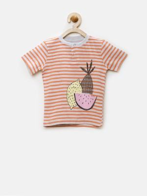 YK Striped Baby Boy's Henley Grey T-Shirt