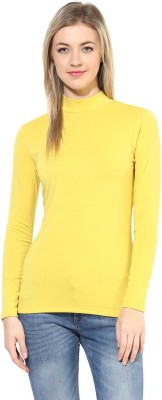 T-shirt Company Solid Women's Turtle Neck Yellow T-Shirt