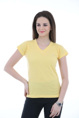 LovinoForm Solid Womens V-neck Yellow T-Shirt