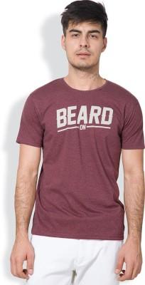 Locomotive Printed Men's Round Neck Pink T-Shirt