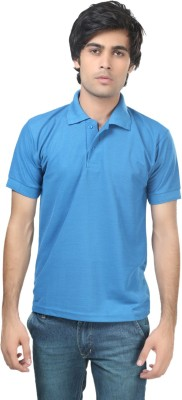 Stylish Trotters Solid Men's Polo Blue T-Shirt