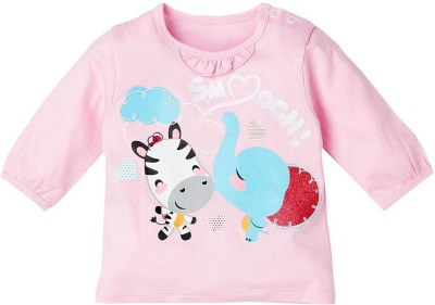 Fisher-Price Printed Girl's Round Neck Reversible Pink T-Shirt