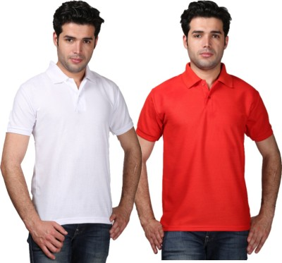 Tageuro Solid Men's Polo Neck White, Red T-Shirt