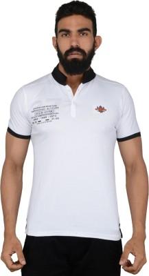 Gotit Solid Men's Flap Collar Neck White T-Shirt