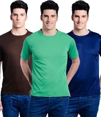 Superjoy Solid Men's Round Neck Brown, Dark Blue, Green T-Shirt