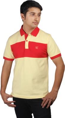 Kanva Striped Men's Polo Yellow, Red T-Shirt