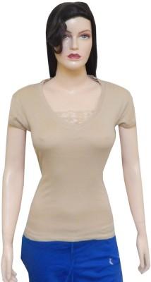 Ultrafit Printed Women's Round Neck Beige T-Shirt