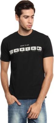 Zovi Graphic Print Men's Round Neck Black T-Shirt