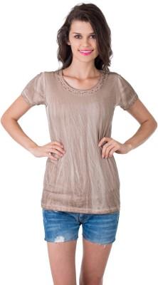 Gypsy Soul Solid Women's Round Neck Beige T-Shirt