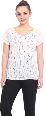 RSVP Cross Printed Women's V-neck White T-Shirt