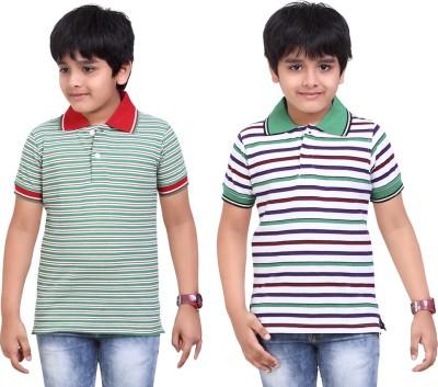 Dongli Striped Baby Boy's Polo Neck Green, White T-Shirt